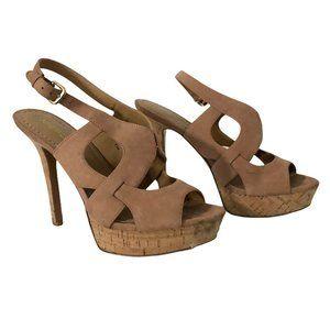 NINE WEST cork platform strappy sandals tan